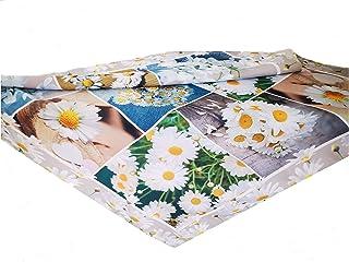 T/&K Tovaglia centrotavola ricamata con fiori motivo primaverile effetto lino codice articolo 204998GL misura 85 x 85 cm
