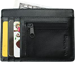UsefulThingy - Cartera para hombre  Negro Black Zip Coin Pocket Small
