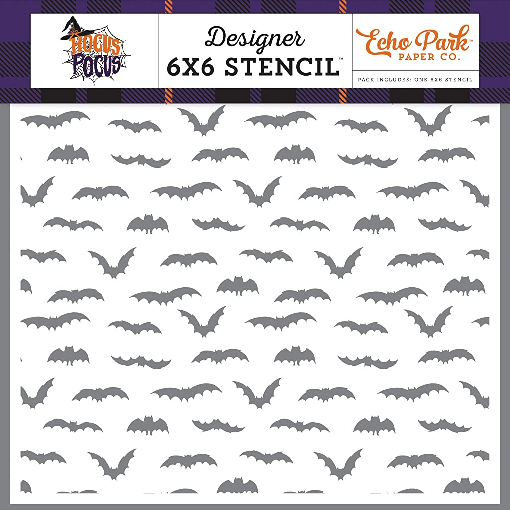 Echo Park Paper Company HO157033 Black Bats Stencil, Purple, Yellow, Orange, Green