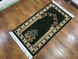 بطانية عبادة إسلامية من الصوف الخالص غزل من القطن السميك أسفل المسجد الإسلامي HJS 65 سم × 120 سم الزهور والخضر