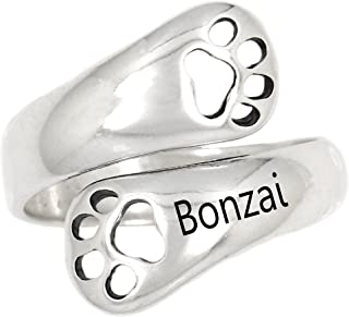 Sterling Silver Customize Personalize Adjustable Dog Paw Dog Lover Ring