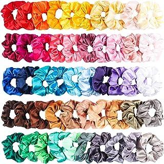R HORSE 50 Packs Satin Hair Scrunchies Set Elastic Colorful Ponytail Holder Solid Color Hair Ties Soft Hair Bobbles Hair A...