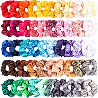50 Pcs Satin Hair Scrunchies Set Elastic Colorful Ponytail Holder Solid Color Hair Ties Soft Hair Bobbles Hair Accessories for Women