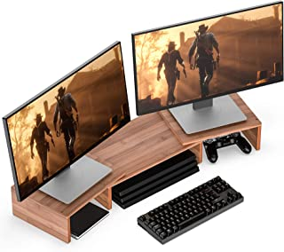 WELL WENG Bamboo Dual Monitor Riser with Adjustable Length and Angle Desktop Stand 3 Shelf Storage Organizer for iMac,Prin...