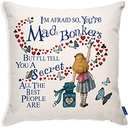 Alice In Wonderland Mad Hatter Tea Party Cushion Cover Cheshire Cat Amazon Co Uk Kitchen Home