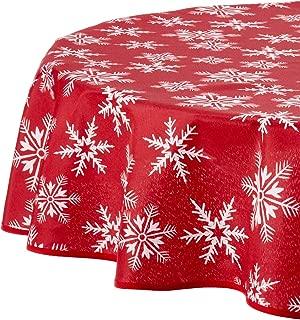 Violet Linen Decorative Christmas Snowflakes Design Tablecloths, 60