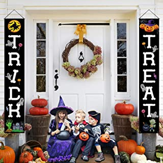 Postivelife Holiday Halloween Front Porch Sign Decorations with Witch Skull Pumpkin Pattern (Happy Halloween Day)