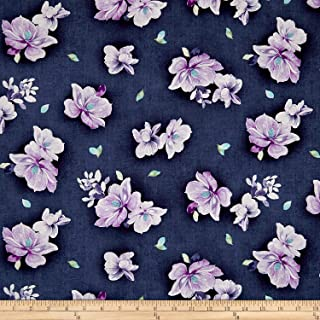 Fabric & Fabric QT Jacqueline Tossed Flowers Dark Grape Fabric by The Yard