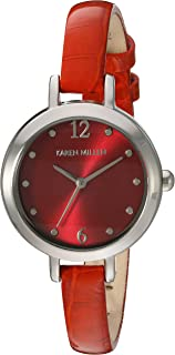 Karen Millen Women's Quartz Brass-Plated-Stainless-Steel and Leather Dress Watch, Color:Red (Model: KM152RA)