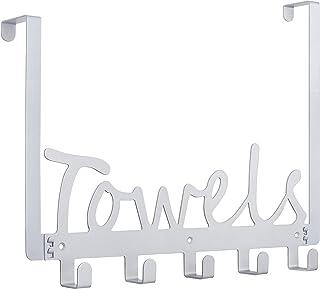 Towel Holder Bath Over The Door 5 Hooks Organizer Rack...