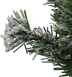 Northlight Pre-Lit Flocked Somerset Spruce Artificial Christmas Wreath - 36-Inch, Clear Lights