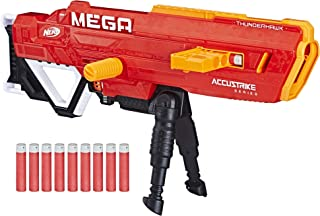 Thunderhawk Nerf AccuStrike Mega Toy Blaster - Longest Nerf Blaster - 10 Official AccuStrike Nerf Mega Darts, 10-Dart Clip, Bipod - For Kids, Teens, and Adults