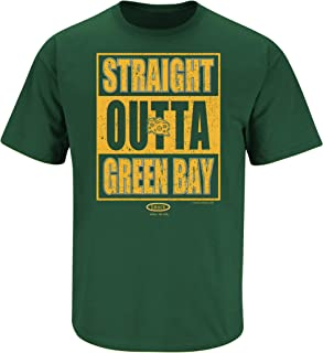 Smack Apparel Green Bay Football Fans. Straight Outta Green Bay Forest Green T Shirt (Sm-5X)