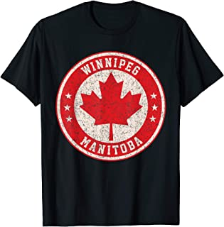 Winnipeg Manitoba Maple Leaf Sign Distressed Print T-Shirt
