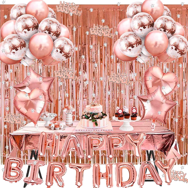 WINAROI Decoración de Cumpleaños en Oro Rosa,Pancarta de Feliz Cumpleaños, Cortina de Borlas de Oro Rosa, Mantel de Aluminio,Globos de Látex Para Niñas, mujeres, Suministro Para Fiestas de Cumpleaños