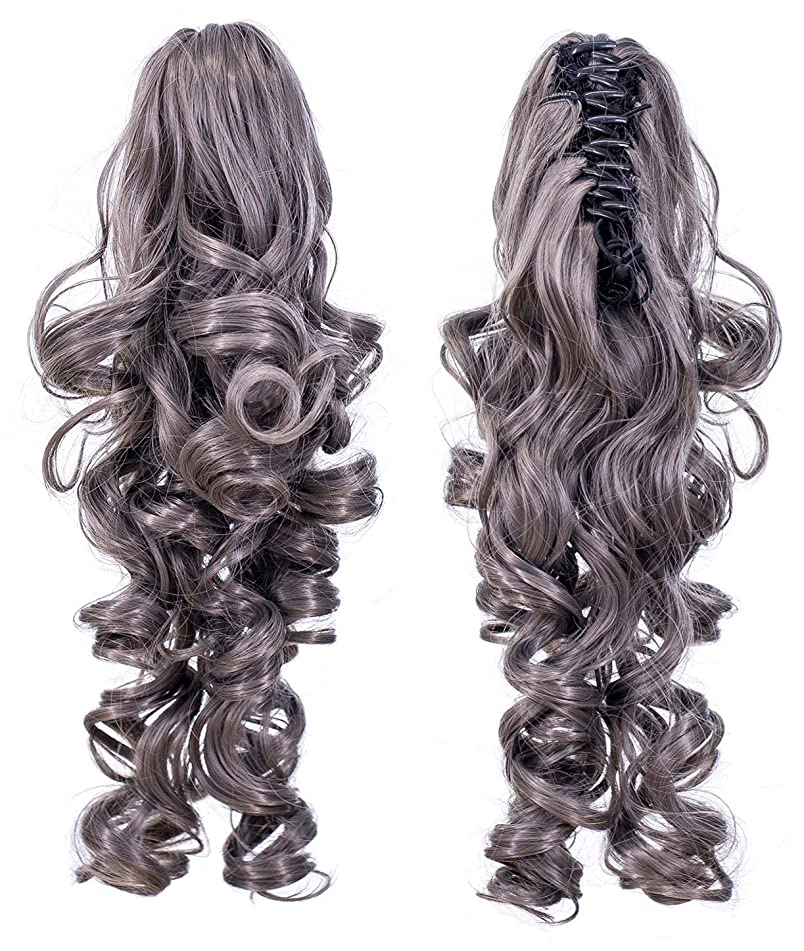 SWACC 12-Inch Short Screw Curls Claw Clip Ponytail Extensions Synthetic Clip in Drawstring Curly Ponytail Hairpiece Jaw Clip Hair Extension (Gray)