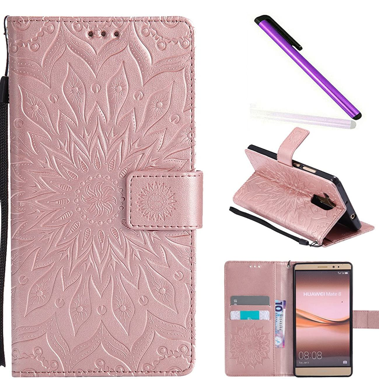 HMTECH Huawei Mate 8 case Sun Flower Embossed Floral Wallet Case with Card Cash Slots Kickstand Premium PU Leather Flip Stand Cover Stylus Pen for Huawei Mate 8 KT Mandala Rose Gold