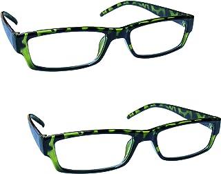 The Reading Glasses Company Green Tortoiseshell Lightweight Comfortable Readers Value 2 Pack Mens Womens RR32-6 +1.75