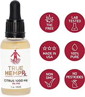 Pure Hemp Extract (Citrus) - 1000 MG, 0% THC, Grown, Cured & Extracted in USA - May Help w/Pain, Inflammation, Stress, Anxiety, Sleep, Blood Sugar & Inflammatory Skin Conditions - Rich in Omegas