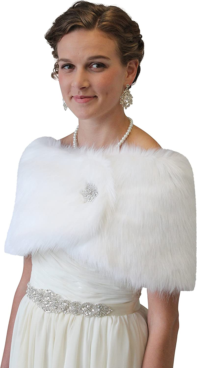 Bridal fur shawl wrap, White Faux Fur Wrap, Free Brooch Pin