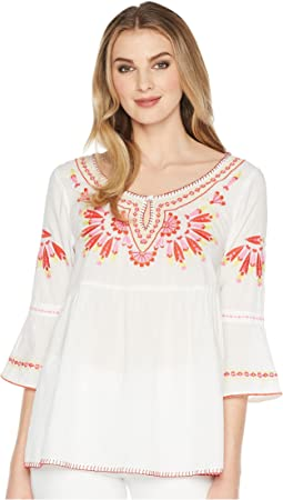 Embroidered Scoop Neck Tunic