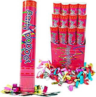 (12 Pack) Large (12 Inch) Confetti Cannons Air Compressed Party Poppers Indoor and Outdoor Safe Perfect For Any Party New Years Eve or Wedding Celebrations Shoot Streamers 10 Foot
