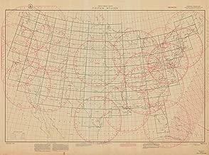 Map - Great Circle Chart United States, 1941 Nautical NOAA Chart - Maine, California, Washington, Florida (ME, CA, WA, FL) - Vintage Wall Art - 44in x 33in