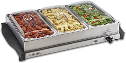 Proctor Silex Server & Food Buffets Food Warmer for Parties, Three 2.2 Quart Stainless Steel Chafing Dishes, Adjustable Heat