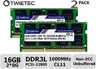 Timetec Hynix IC 16GB Kit (2x8GB) DDR3L 1600MHz PC3-12800 Unbuffered Non-ECC 1.35V CL11 2Rx8 Dual Rank 204 Pin SODIMM Portatil Memoria Principal Module Upgrade (16GB Kit (2x8GB))