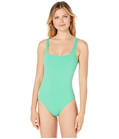 Polo Ralph Lauren Ribbed Modern Martinique Tank One-Piece Swimsuit (Leaf) Women