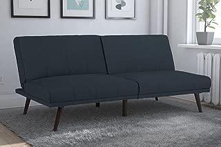 DHP Lone Pine Linen Upholstered Futon, Multi-Position and Split-Back Design, Navy Blue