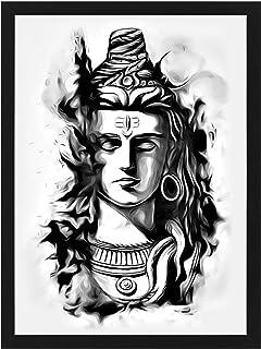 svp Synthetic Adiyogi Lord Shiva Art Photo Frame for Wall Decoration (Multicolor, 12x18)