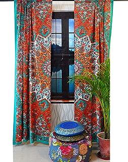 Indian Mandala Curtain Gypsy Bohemian Handmade tie dye Curtains Include 2 Panel Set Mandala Curtain Tapestry Drapes Valances Window Treatment Curtain (Rod Pocket Curtain -Yellow and Green)