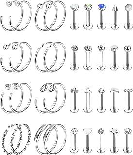 YADOCA 36 Pcs Stainless Steel Nose Studs Tragus Labret Lip Piercing Assorted Design Hoop Nose Rings Cartilage CZ Balls Heart Flower Helix Nose Ring