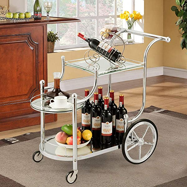 Tangkula Rolling Bar Cart Metal Serving Cart With Tempered Glass 3 Tier Glass Bar And Serving Cart Tea Serving Bar Cart With 4 Wheels Silver