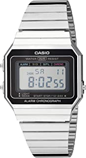 Men's Classic Quartz Stainless-Steel Strap, Silver, 21.5 Casual Watch (Model: A700W-1ACF)