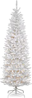 National Tree 7 Foot Kingswood White Fir Pencil Tree with 300 Clear Lights, Hinged (KWW7-300-70)