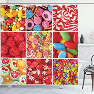Colorful Shower Curtain, Collage of Photos with Different Sweets Candies Bonbon Fruity Jellies Lollipops, Fabric Bathroom ...