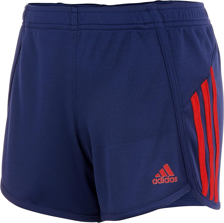 adidas Girls' Stripe Mesh Short, Navy, Large