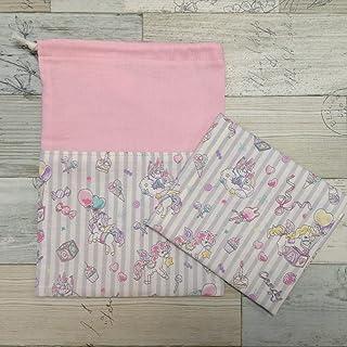 Jam's Ukulele MOR-059-4 / 給食袋&ナフキンセット 巾着袋 ペガサス ピンク 女の子 ランチマット ランチクロス 入学準備 入学祝い 学用品 給食ナフキン ハンドメイド 手作り プレゼント