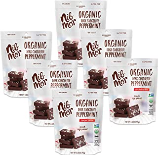 Nib Mor Organic Dark Chocolate Peppermint Snacking Bites with 72% Cacao - Limited Edition Holiday, Festive, Christmas Chocolates, 3.26 Ounce (Pack of 6)
