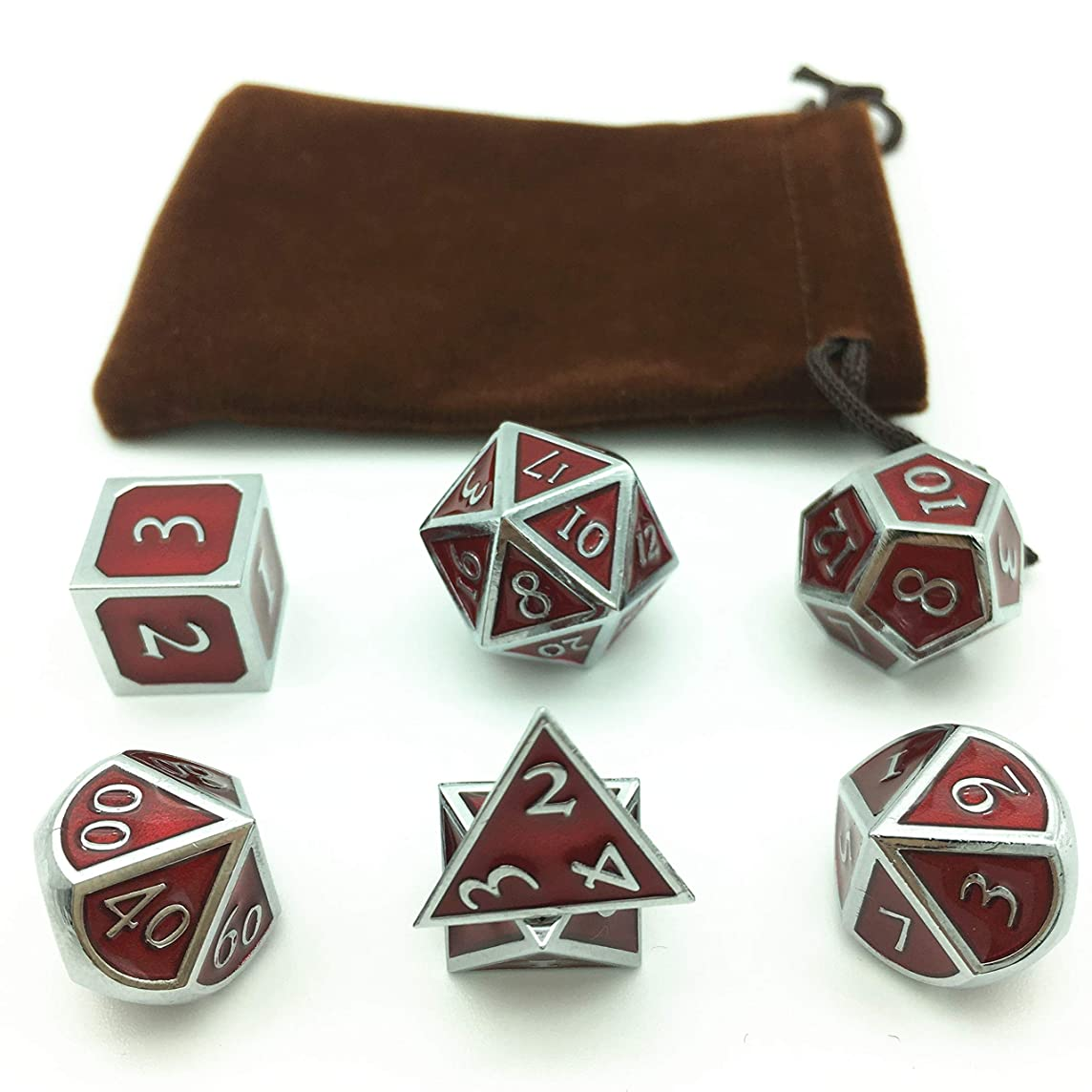 Momostar Solid Polyhedron Dice, Metallic Tweezers for DND RPG,Chrome Color & Blood-red Background.