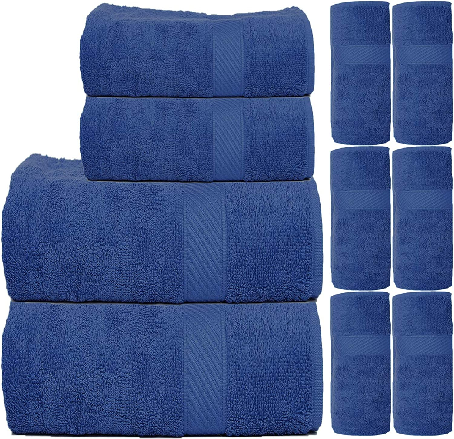 TRIDENT Fast Dry & Super Absorption 450 GSM 10-Pieces (Bath, Hand & Wash Cloth) Towel Set, bluee