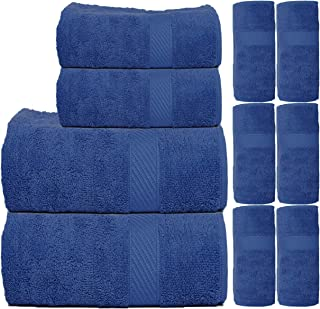 TRIDENT Fast Dry & Super Absorption 450 GSM 10-Pieces (Bath, Hand & Wash Cloth) Towel Set, Blue