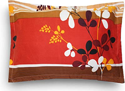 Home Candy 120 TC Microfibre 1 Bedsheet with 2 Pillow Covers, Ornament, Double, Red;Yellow