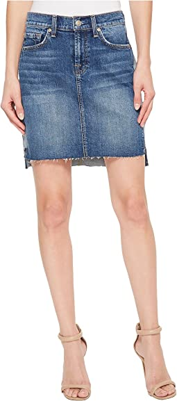 7 For All Mankind Short Skirt w/ Reverse Step Side Panel in Mojave Dusk
