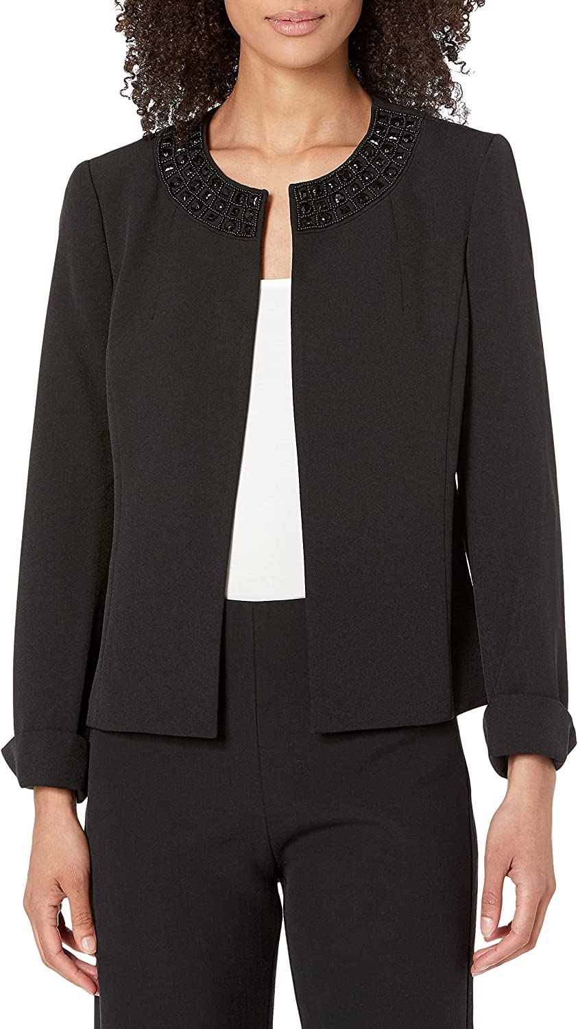 High material Kasper Women's Stretch Crepe Flyaway Our shop OFFers the best service Col with Embellished Jacket