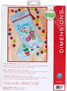 Dimensions 70-08977 Cross Stitch 'FA La Llama' Personalized Christmas Stocking Kit, Blue 14 Count Aida, 16''