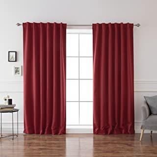 Best Home Fashion Thermal Insulated Blackout Curtains - Back Tab/Rod Pocket - Cardinal Red- 52