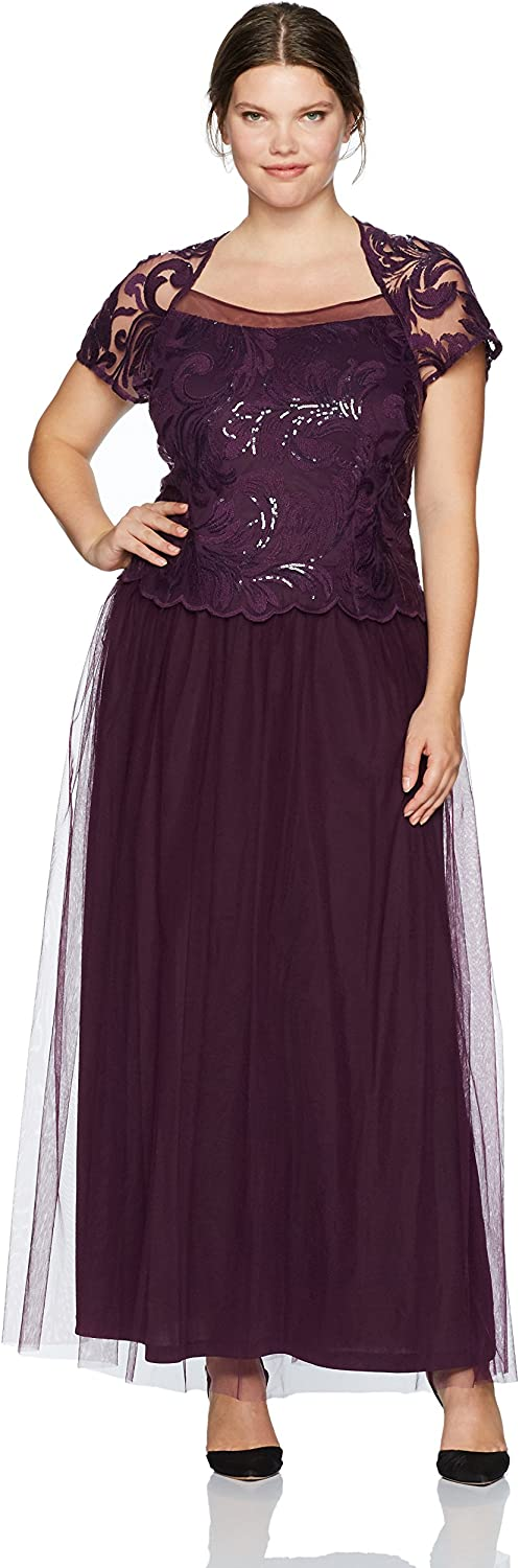 Le Bos Womens Mock 2 Pc Embroided Long Gown Plus Mother of The Bride Dress